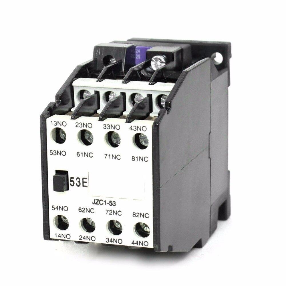 цена на 35mm DIN Rail Mount Contactors 5NO 3NC 24V 36V 110V 220V 380V 50Hz Coil Volt Ith 10A AC Motor Contactor Relay Starter JZC1-53