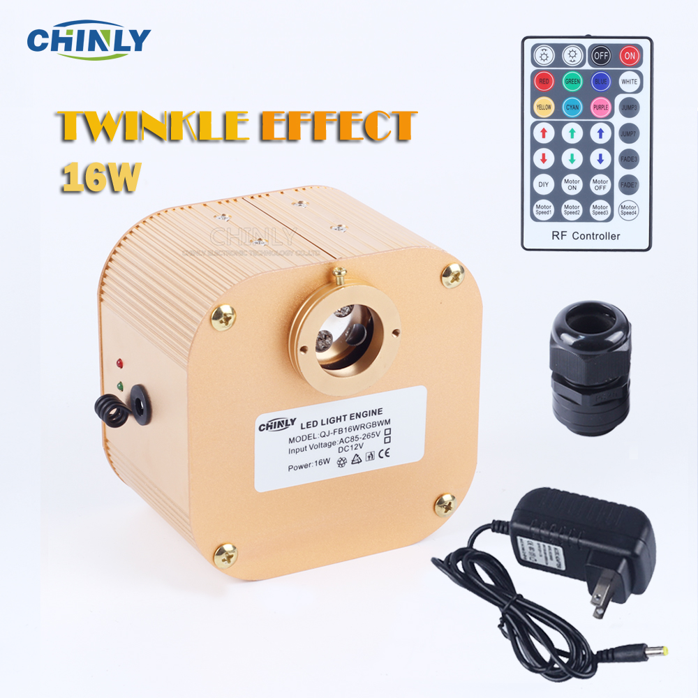 CREE Chip 16W RGBW LED Twinkle Effect Fiber Optic Engine Driver med 28 nøkkel RF fjernkontroll for alle typer fiberoptisk kabel