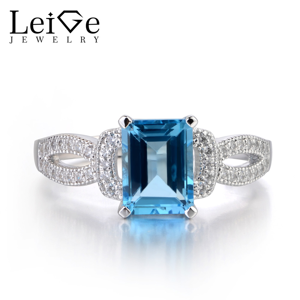 Leige Jewelry Silver Switzerland Blue Topaz Ring Sterling Silver 925 Fine Jewelry Wedding Engagement Rings for Women Blue Gems термокружка gems 470ml blue topaz 1907 77
