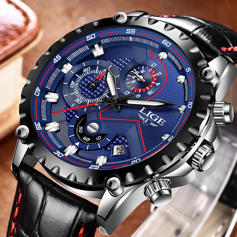 LIGE Fashion Sports Mens Watches Top Brand Luxury Waterproof Watch Men Casual Leather Quartz Business Watch Relogio Masculino baosaili fashion casual mens watches top brand luxury leather business quartz watch men wristwatch relogio masculino bs1038