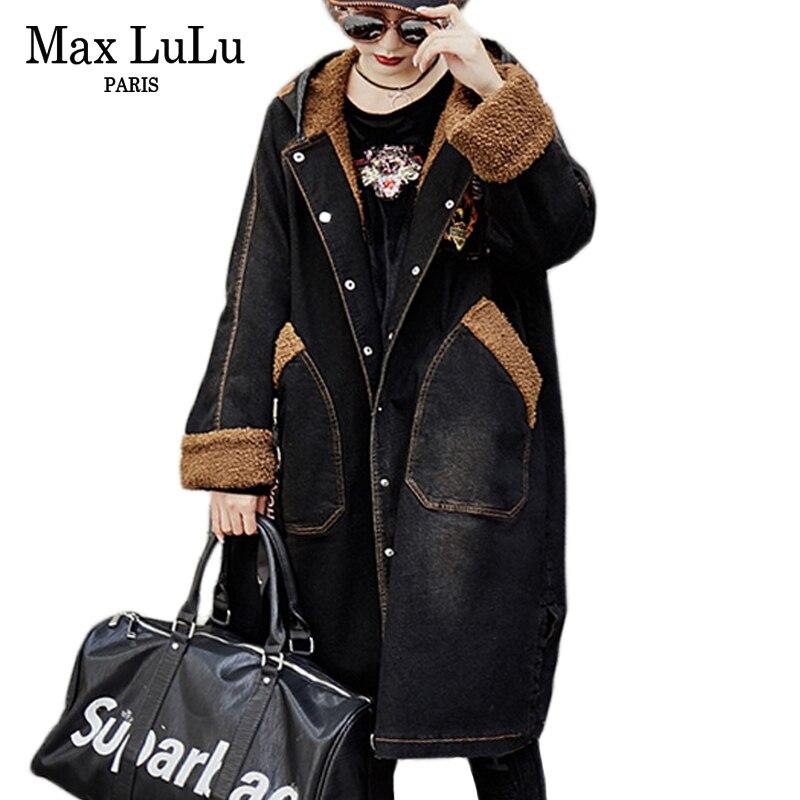 Max LuLu De Luxe Punk Motif Filles Denim Coupe-Vent Femmes Jeans Hiver Veste À Capuche Longue Parka Femme Fourrure Manteau Chaqueta Mujer