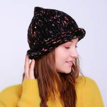 Women Warm Crochet Winter Wool Knit Ski Beanie Skull Caps Hat Hairy Bulb Knitting  Wool about 55cm~65cm Soft and fashionable ff24068d33be