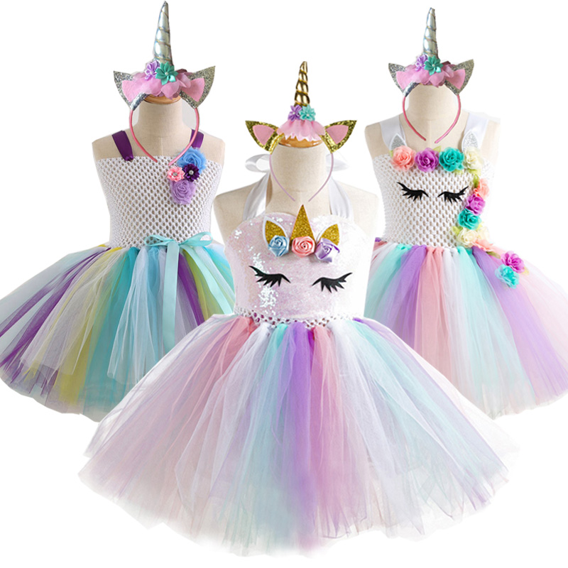 Childrens Girls Princess Unicorn Flower Tulle Tutu Dress Ball Gown w Headband ZG