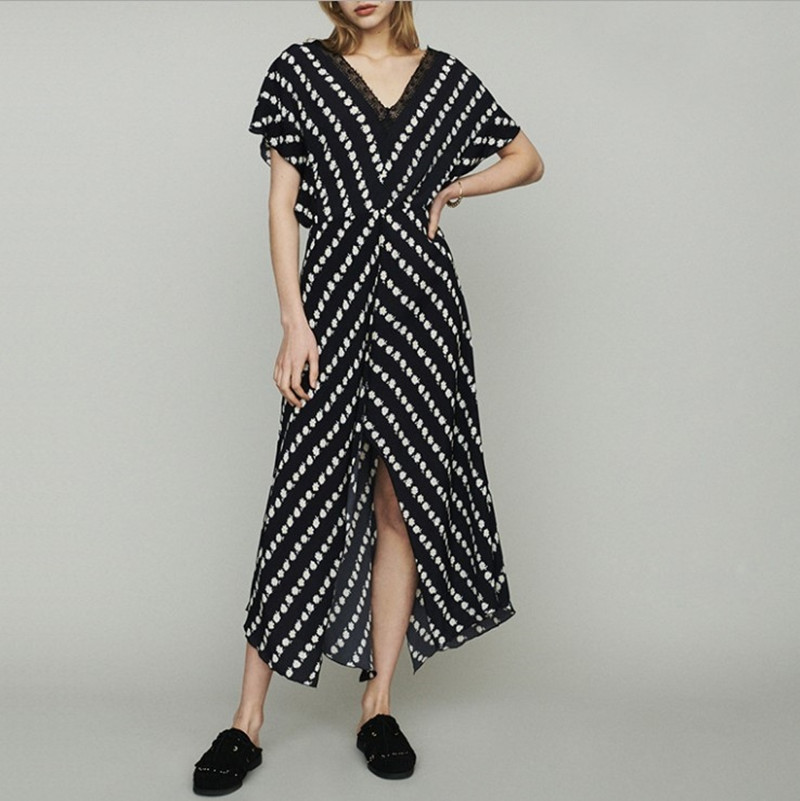 Women Daisy Print Sleeveless Black Long Dress 2019 New Summer V neck Lace Side Split Dress