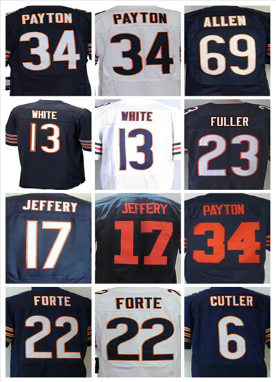 cheap stitched Chicago sports football Kevin White Alshon Jeffery jerseys Walter Payton matt forte Jared Allen mens jersey