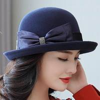 Mother Gift Lady Top Grade Banquet Formal Hats Women Winter Pure Wool Felt Bowknow Fedora Hat
