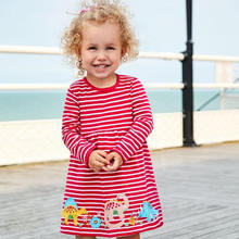 Cotton Spring-Fall Kids Dress Long Sleeve Striped Casual Animals Applique Girls Baby New Clothing Princess Children's Dresses jumping meters top brand dresses girls baby new clothing cotton striped applique animals princess autumn spring kids dress girl