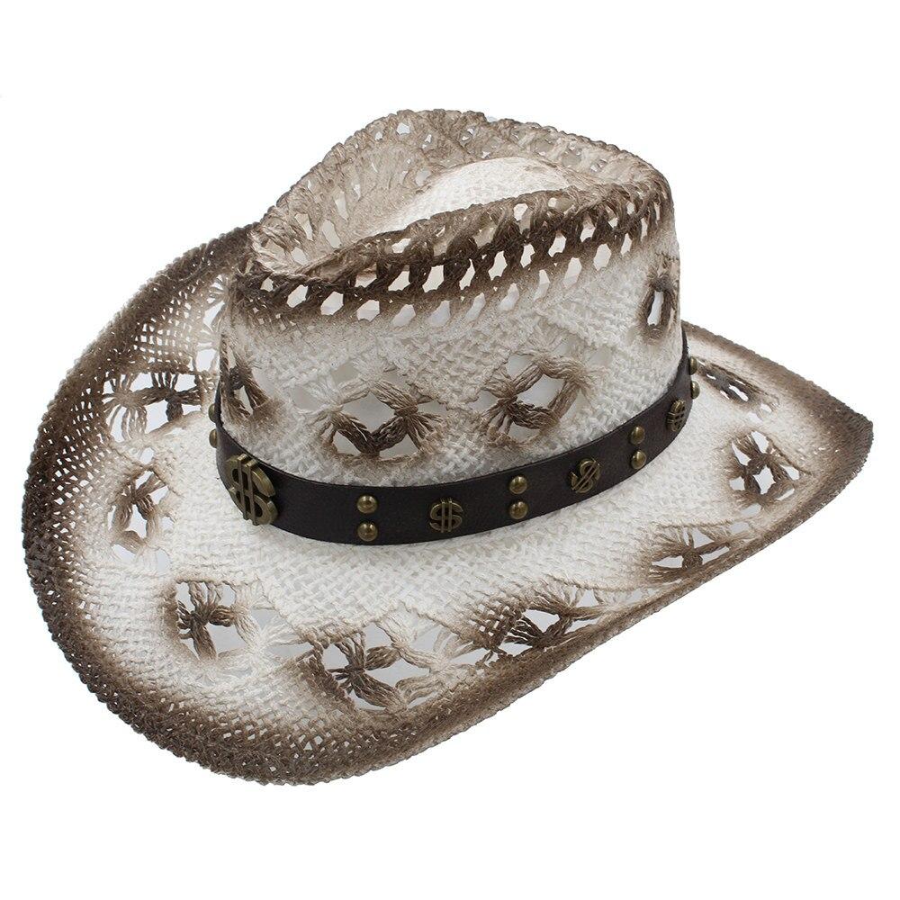 Men's Hats Temperate Women Men Sun Sun Hat With Fashion Money Band Handmade Weave Beach Sun Sombrero Cowboy Hat Size 58cm A0077
