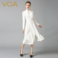 VOA Heavy Silk Plus Size 5XL White Party Dress Women Chinese Style Slim Tunic Vintage Long Sleeve Sexy Hollow Out Spring A6325