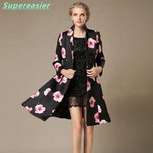 2016 Slim Retro Flower Printing Women Coat Suit Collar Swing Skirt Ladies Coat Summer Spring Long Black Windbreaker Plus Size