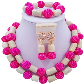Nice Fuchsia Pink Beige African Style Women Crystal Bridal Jewelry Sets for Engagement 2C-ZHSH-12