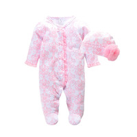 2016 Autumn Newborn Baby Girl Clothes Footies Princess Infant Bodysuits Floral Romper Hat Fashion Baby Jumpsuit
