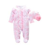 2016 Autumn Newborn Baby Girl Clothes Footies Princess Infant Bodysuits Floral Romper Hat Fashion Baby Jumpsuit