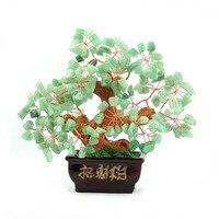 Feng Shui CRISTALES de ROCA de JADE VERDE Suerte Árbol Del Dinero EN CAJA de COLOR ROSA