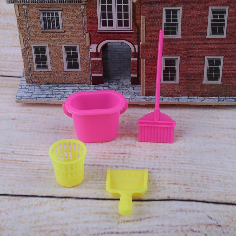 40pcs/lot Plastic Trash Can Broom Doll House Cleaner Furniture Doll Accessories for Barbie Doll Baby Kids Gift Pretend Play Toy