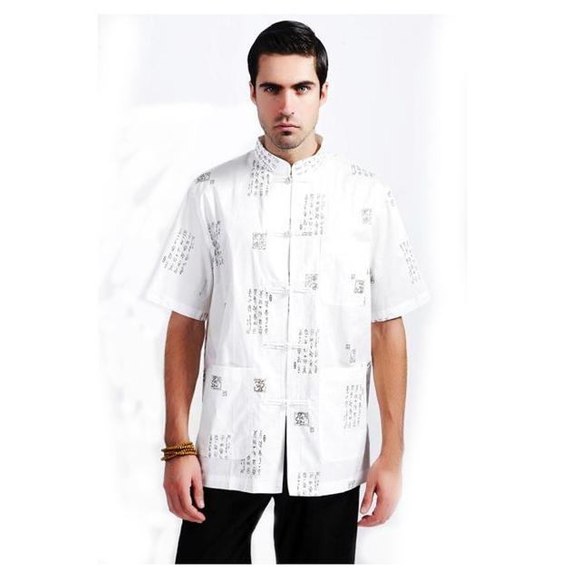 Marca Preto Novo Chinês Dos Homens de Manga Curta Camisa de Linho De Algodão Wu Shu Tops Camisa Totem Do Vintage Tamanho M L XL XXL XXXL MS072