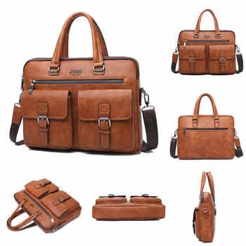 JEEP BULUO Famous Brand 2pcs Set Men\'s Briefcase Bags Hanbags For Men Business Fashion Messenger Bag 13.3\' Laptop Bag 8001/8888