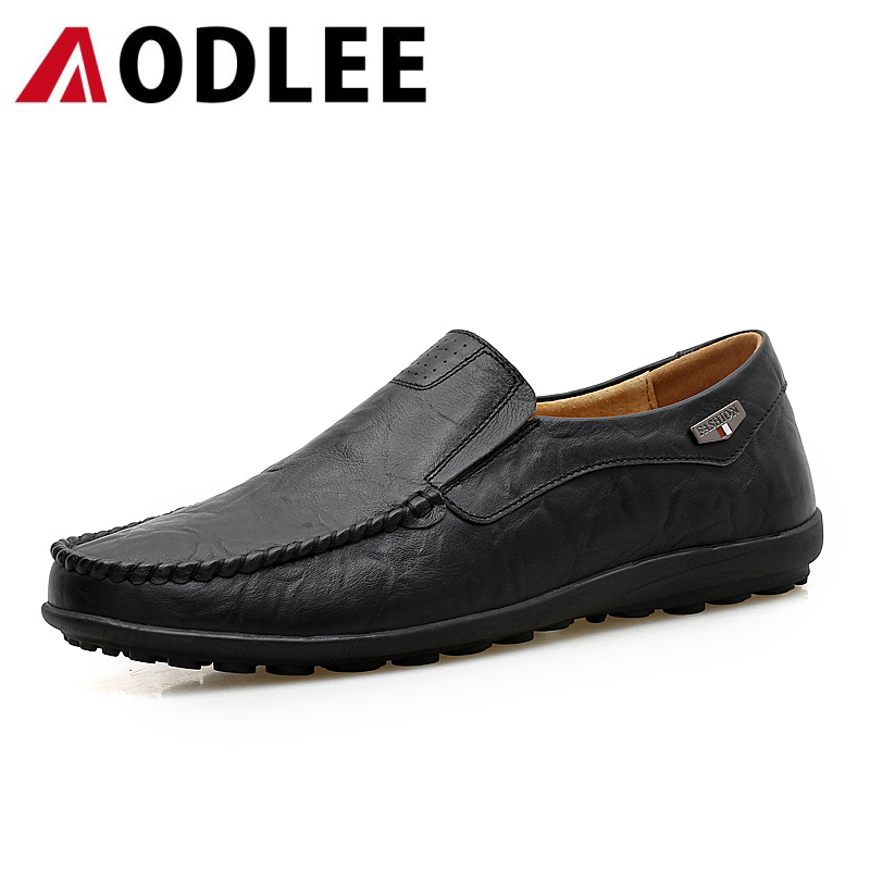 AODLEE Big Size 5.5-13 Men Casual Shoes Slip On Leather Shoes Breathable Men Flats Shoes Men Loafers Zapatos Hombre Masculino fashion nature leather men casual shoes light breathable flats shoes slip on walking driving loafers zapatos hombre