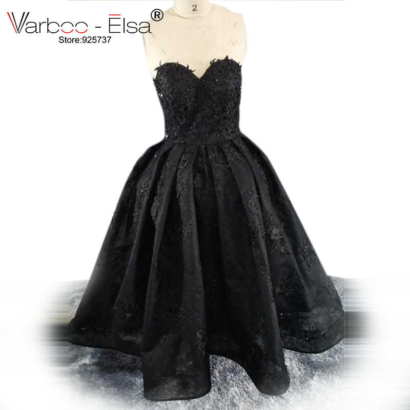 VARBOO_ELSA vestido de festa Sexy Strapless Evening Dresses Black Organza Party Ball Gown Lace Appliques Sweetheart 2017 Custom