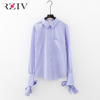 RZIV 2018 Summer Women S Shirt Casual Striped Metallic Ring Trimmed Banded Blouse