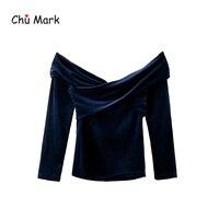 Chu Mark Women Velvet Slash Neck Off Shoulder Blouses Elegant Long Sleeve Cross Design Vintage Female