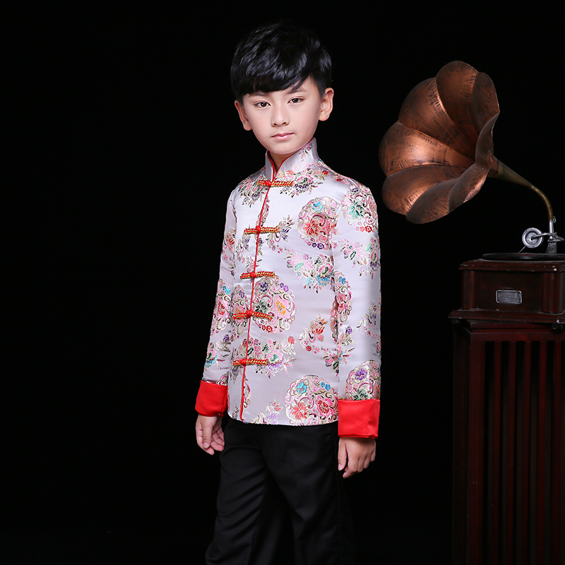 a44f5191 Children Winter Jacket Suit Boys Chinese New Year Traditional Dress Kids  Cheongsam Top Satin Qipao Embroidery Gold Brocade Gown-in Cheongsams from  Novelty ...