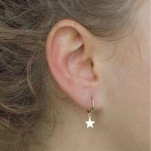 1 пара маленькая звезда луна серьги золотистого цвета простые ухо-манжеты пирсинг уха Huggie серьги инструменты ювелирные изделия аксессуары для женщин