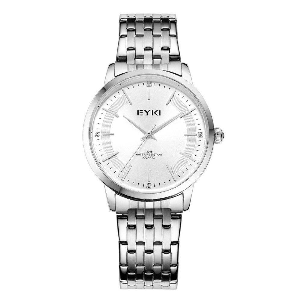 Brand EYKI 30M Waterproof Fashion Couple Watches Stainless Steel Strap simple Diamond Scale Advanced movement Quartz