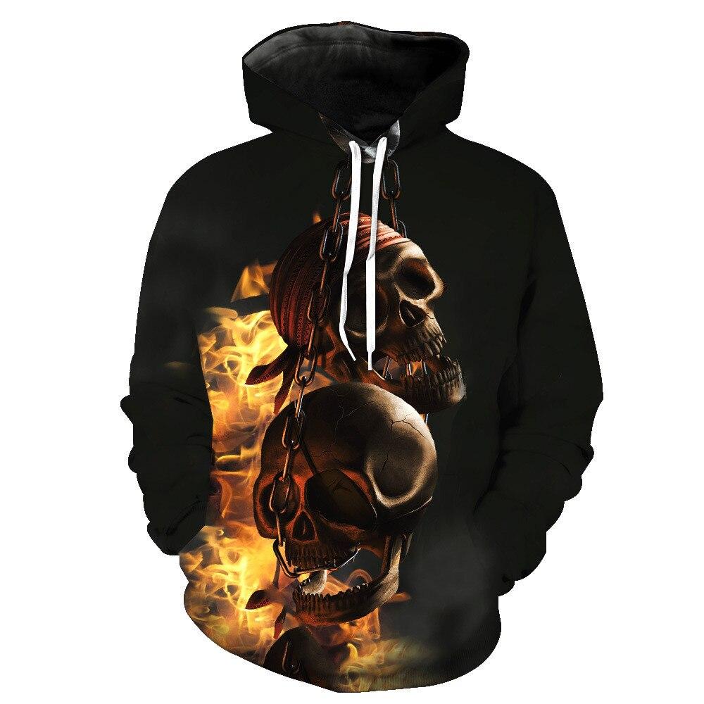 Unisex Punk Style Burning Skulls on Chain Casual Hoodie 3D Digital Print Pullover Hooded Sweatshirt Drop Shipping