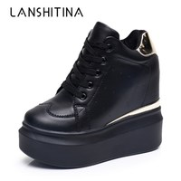 2018 Women High Platform Shoes Autumn Breathable Leather Casual Shoes Height Increasing Shoes 12 CM Thick Sole Ladies Sneakers