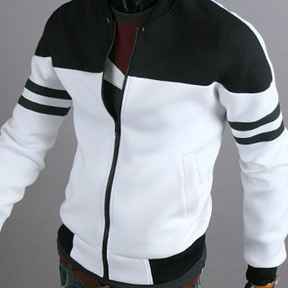 2019 Winter Autumn Jacket Casual Zipper Sportswear Patchwork Jacket Long Sleeve Coat Slim Bomber Jacket Men Overcoat
