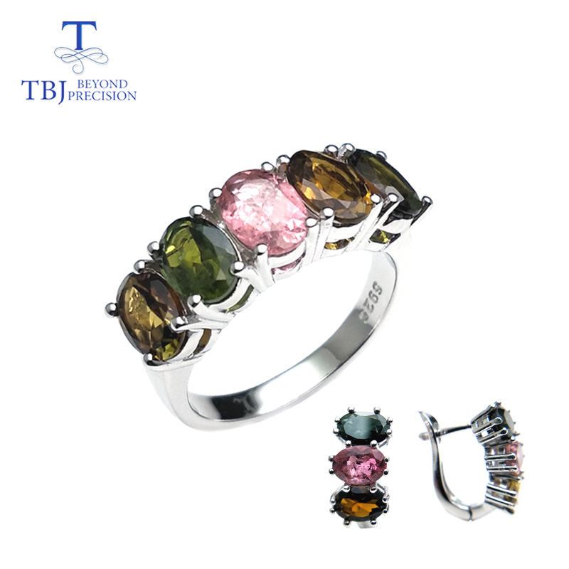 TBJ natural fancy color tourmaline clasp rings and earrings set simple design gemstone 925 silver for