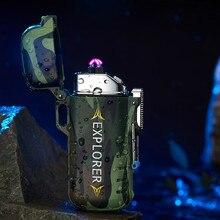 Encendedor de Plasma USB impermeable de doble arco para deportes de acampada al aire libre, encendedor de cigarrillos para fumar, encendedores electrónicos sin llama