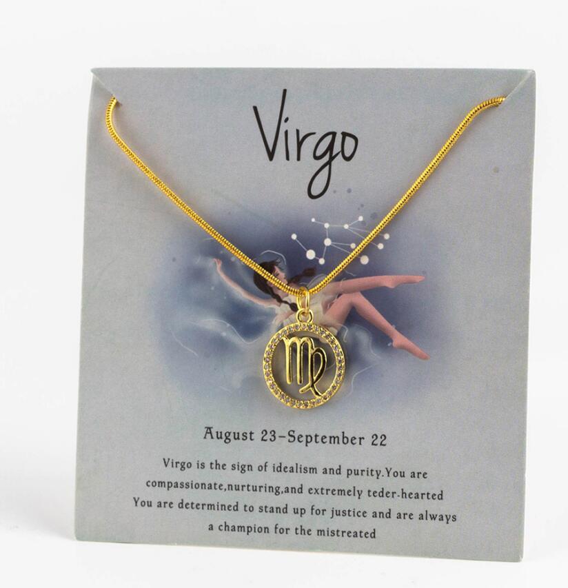 Ожерелье с подвеской в виде животных 12 созвездий для женщин, чокер для пар, массивная цепочка, ожерелье золотого цвета, Знак зодиака с коробкой для карт - Окраска металла: 4