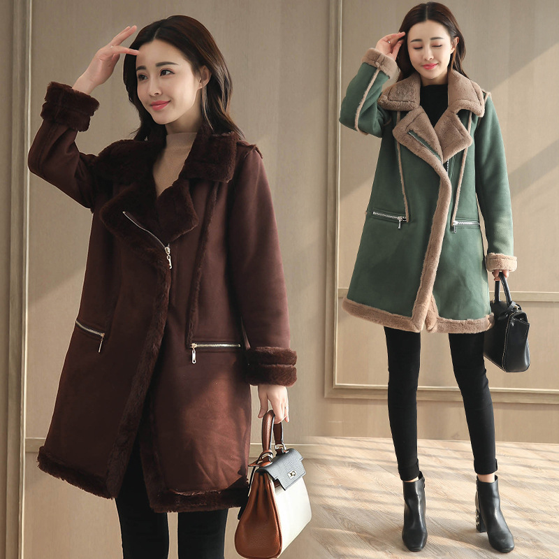 Зимняя женская куртка из искусственной замши, шуба, утолщенная замшевая Женская Длинная шерстяная куртка, теплая верхняя одежда