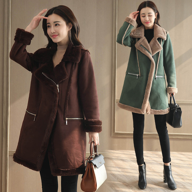 99ac2f84678 US $40.19 40% OFF|Winter jacket Women Faux Suede fur Coat thickened suede  woman long wool coat Warm Outer layer Thickening Cold resistane Outwear-in  ...