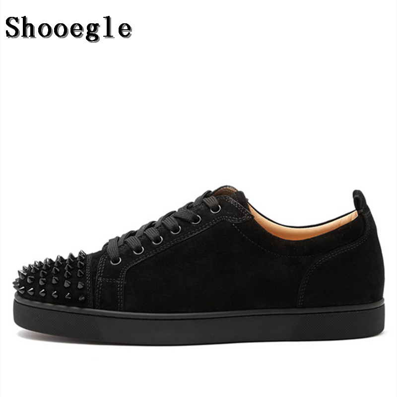 SHOOEGLE Fashion Luxury Spikes Men Shoes Rivets Casual Suede Platform Sneakers Mens Low Top Lace up High Quality Motorcycle Shoe - 2