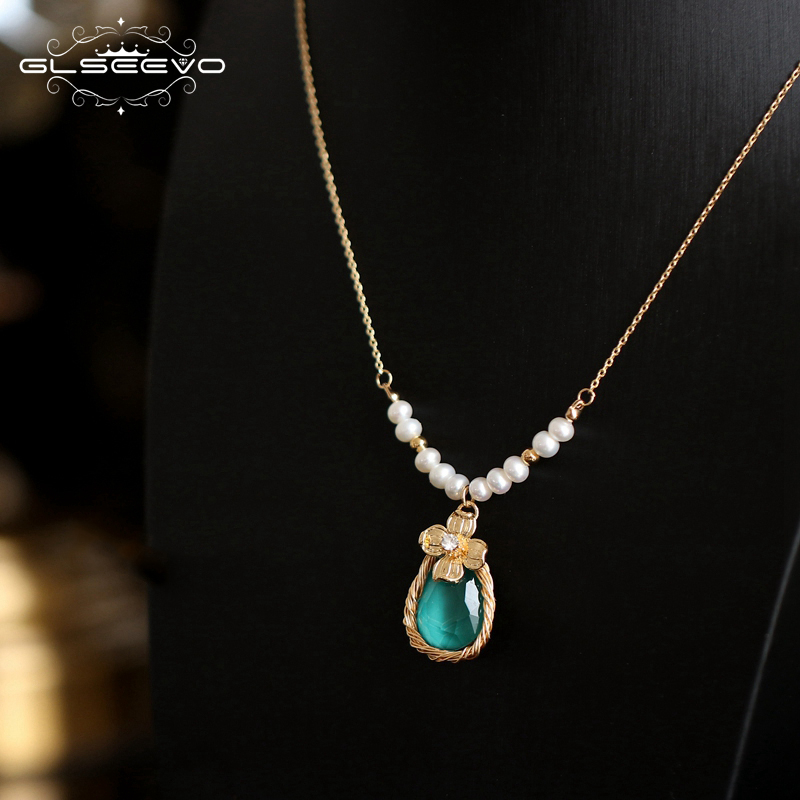 GLSEEVO Handmade Natural Fresh Water Pearl Blue Stone Pendant Necklace For Women Wedding Jewelry Kolye Collier Femme GN0088GLSEEVO Handmade Natural Fresh Water Pearl Blue Stone Pendant Necklace For Women Wedding Jewelry Kolye Collier Femme GN0088