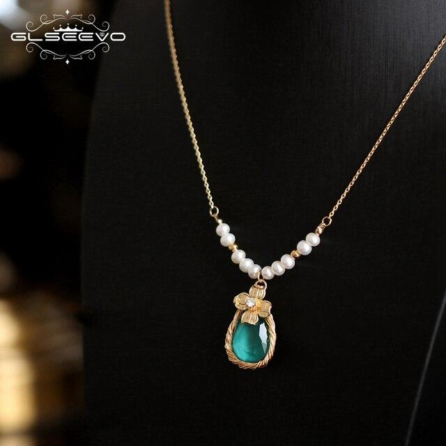 GLSEEVO 手作り天然淡水真珠ブルーストーンペンダントネックレス女性ウェディングジュエリーのため Kolye コリアーファム GN0088
