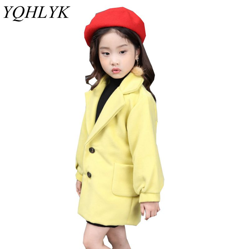 New Fashion Spring Autumn Girls Coat 2018 Children Lapel Pure Color Long-Sleeve Woollen Overcoat Casual Joker Kids Clothes W153 sophisticated style lapel ripple buttons long sleeve coat for women