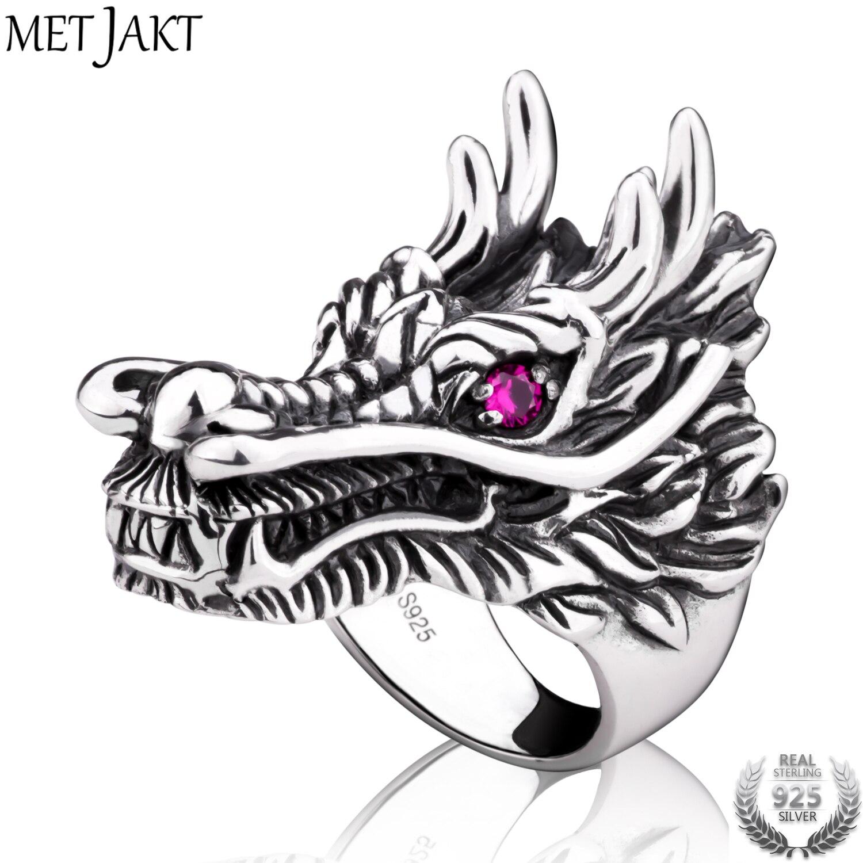 MetJakt Punk Rock Domineering tête de Dragon anneau avec rubis solide 925 bague en argent Sterling fait à la main bijoux pour hommes
