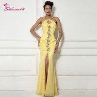 Alexzendra Żółty Syrenka Sexy Prom Dresses z Szczeliny Boczne Paciorkami Crossed Powrót Długi Wieczór Party Suknie Dostosowane