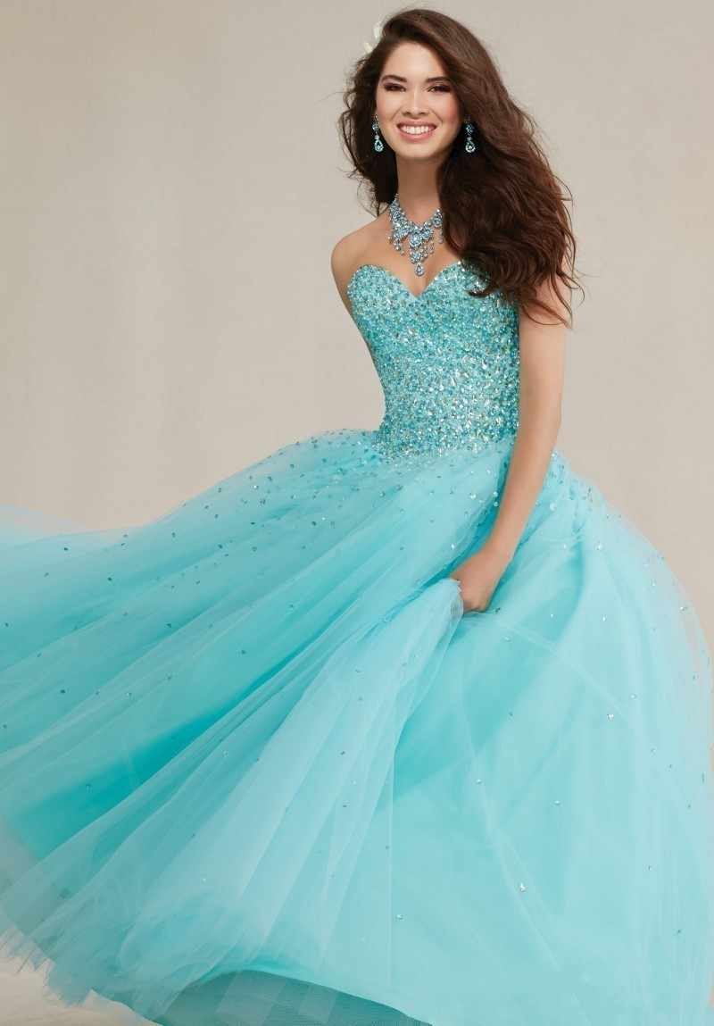 ... Sparkly Ball Gown Crystals Corset Puffy Tulle 2018 Turquoise  Quicneanera Dress For Girls 15 Years Masquerade ... 06d718066282
