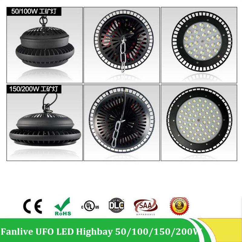 50W 100W 150W 200W Led UFO High Bay Flood Light 200W Industrial Lighting IP65 Waterproof High Bay , AC100-265V 5years Warranty nickel bay nick