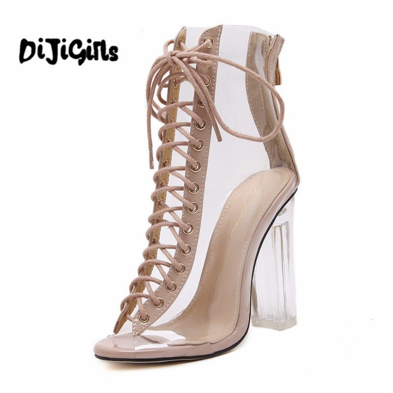 New Summer Sandals Sexy PVC Transparent Gladiator Sandals Cross Strappy Peep Toe Shoes Clear Chunky heels Women Ankle boots new arrival lace up women sexy peep toe sandals cross tied slingback gladiator heel shoes street style ankle boots women shoes