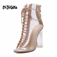 New Summer Sandals Sexy PVC Transparent Gladiator Sandals Cross Strappy Peep Toe Shoes Clear Chunky heels Women Ankle boots