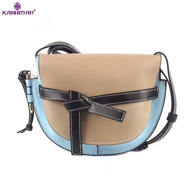 Luxury Celebrity Show Saddle Bag Contrast Color Handbags Bow Semicircle Shoulder Messenger Bags Europe Style Genuine Leather Bag contrast bow flat sliders
