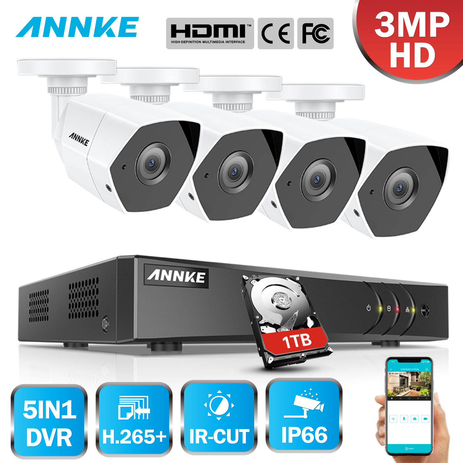 ANNKE Full HD 8CH 3MP 5in1 Security DVR System CCTV Kit 4pcs Weatherproof Outdoor Surveillance Bullet