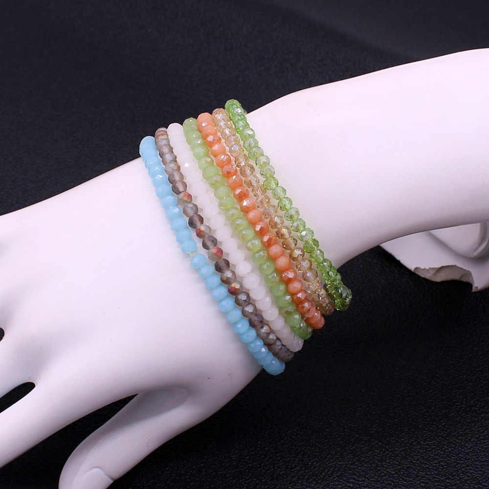 Braccialetto di cristallo fatti a mano di perline del braccialetto delle signore di modo semplice di alta qualità di perline di cristallo braccialetto 14 di colore amicizia gioielli