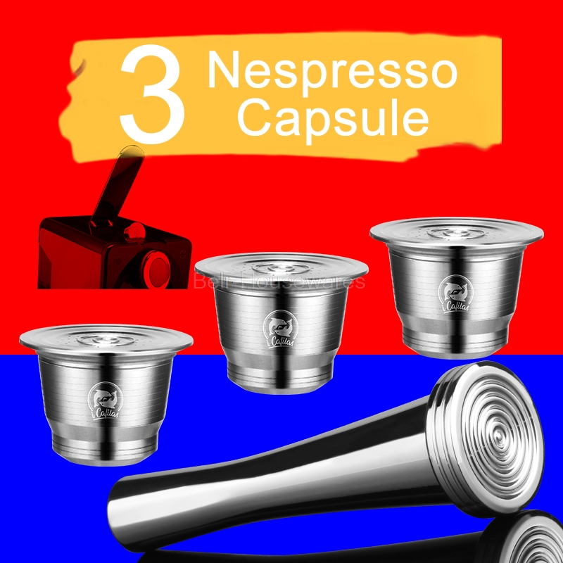 Capsula:  Nespresso Stainless Steel Refillable Nespresso Capsules Capsula Coffe Koffie Tamper Stand Coffeeware Reusable Coffee Filter Cup - Martin's & Co